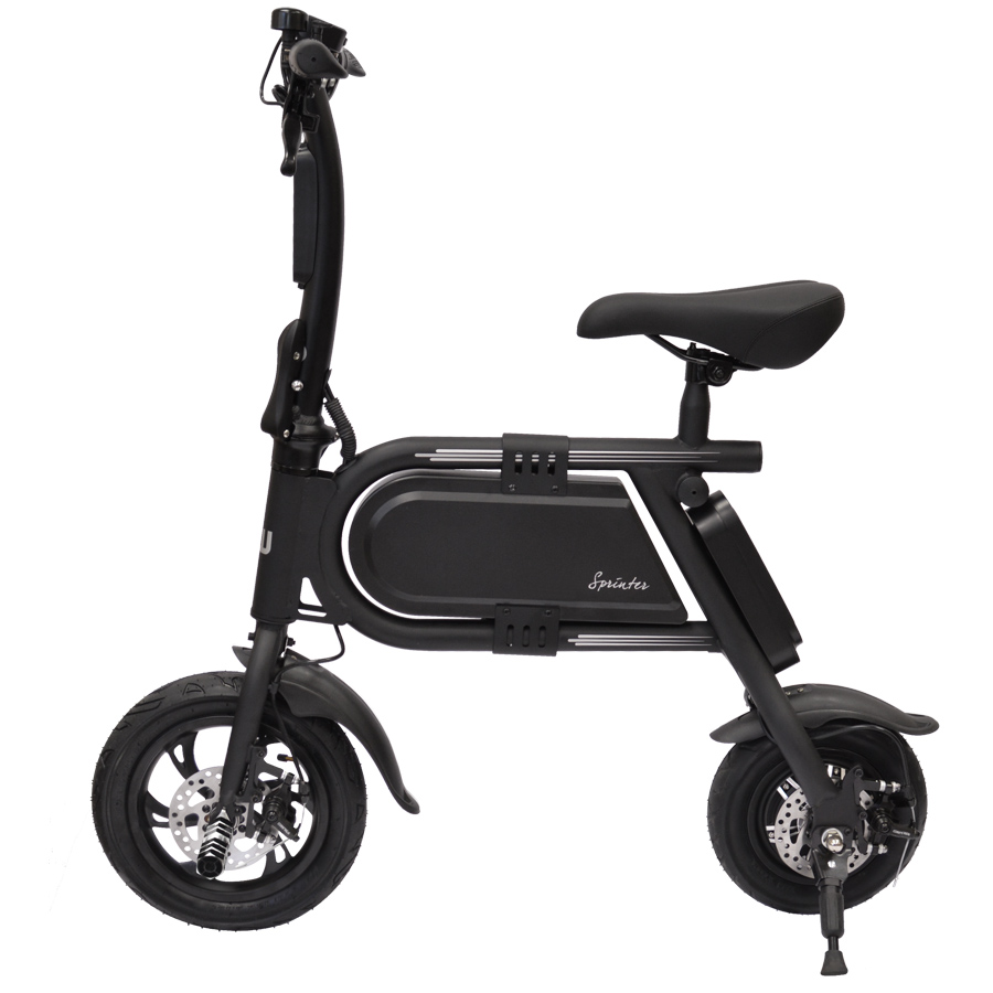 Hover-Way Collapsible 12 MPH Electric Scooter Sprinter Bike, 12 Mile Range (Black)