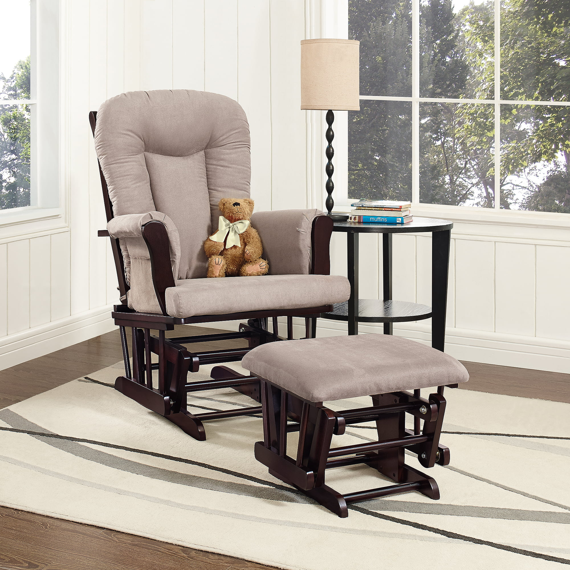 Storkcraft Bowback Glider And Ottoman Espresso With Beige   Walmart.com