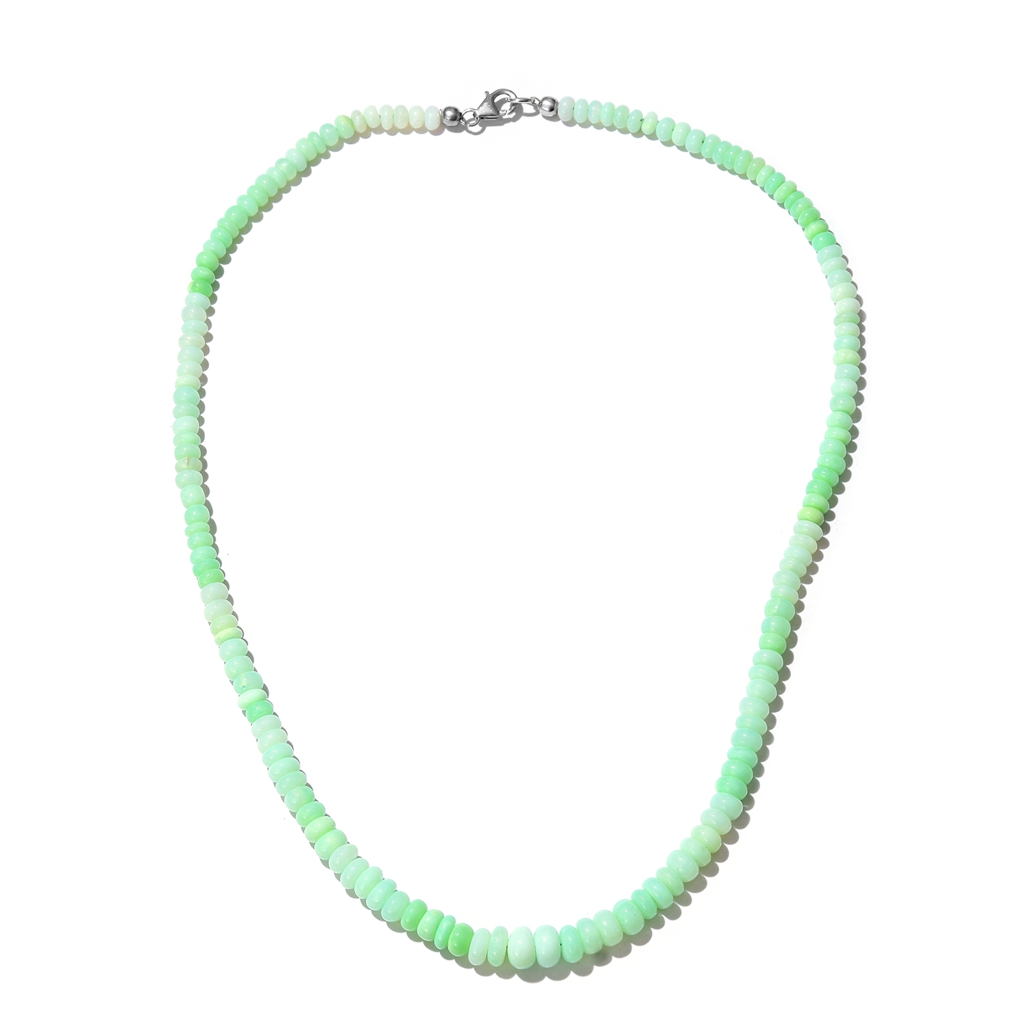 "Mint Green Opal Enhanced Beads Platinum Plated Silver Fashion Pendant Necklace Size 20"" by Shop LC"