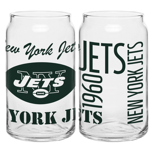 Boelter Brands NFL Set of Two 16 Ounce Spirit Glass Can Set, New York Jets