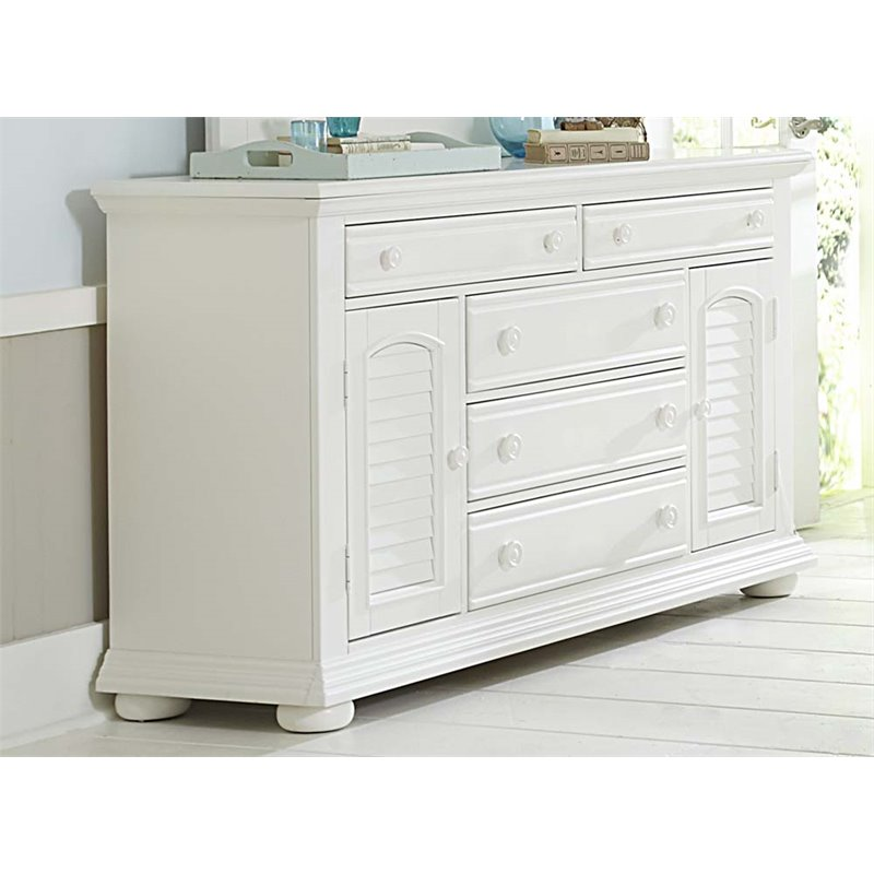 Liberty Furniture Summer House I 2 Door 5 Drawer Dresser in White