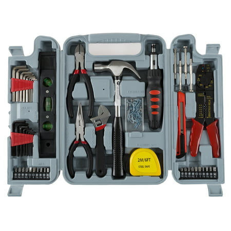 Household Hand Tools, 130 Piece Tool Set by Stalwart, Set Includes ¢ Hammer, Wrench Set, Screwdriver Set, Pliers (Great for DIY Projects)
