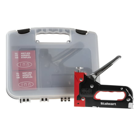 Light Duty Staple Gun Kit- Stapler for Upholstery, Fabric, Wood, Crafts, Construction, Bulletin Board with Staples and Carrying Case by Stalwart,