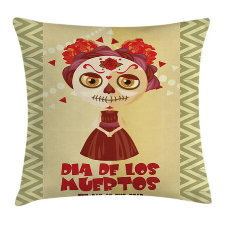 Day Of The Dead Decor Throw Pillow Cushion Cover, Spanish Dia de los Muertos Print Girl with Gothic Makeup, Decorative Square Accent Pillow Case, 18 X 18 Inches, Cream Burgundy and Red, by Ambesonne