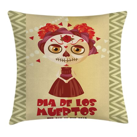Day Of The Dead Decor Throw Pillow Cushion Cover, Spanish Dia de los Muertos Print Girl with Gothic Makeup, Decorative Square Accent Pillow Case, 24 X 24 Inches, Cream Burgundy and Red, by Ambesonne