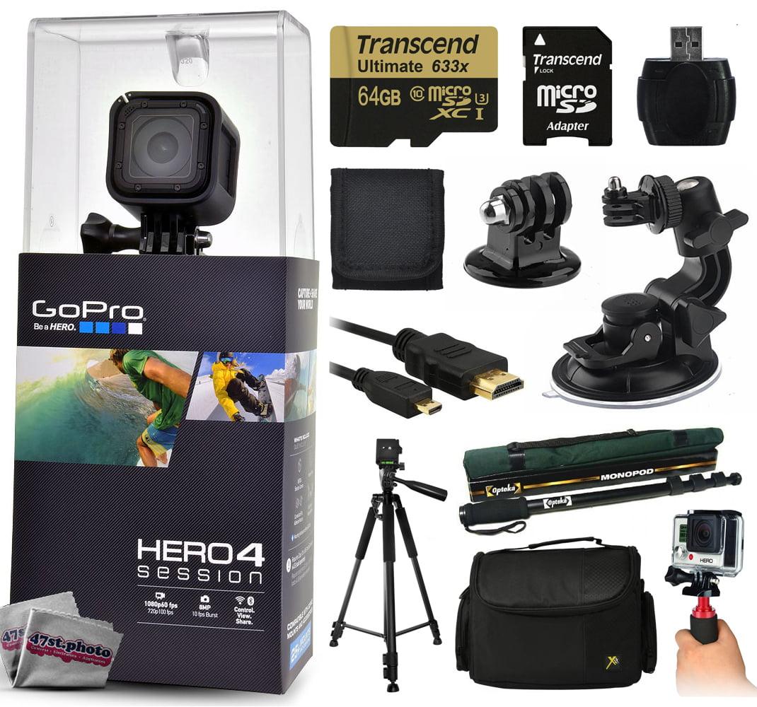 Camara De Video ¿GoPro Hero 4 HERO4 sesión CHDHS-101 con 64GB de memoria Ultra con lector de MicroSD + soporte ventosa + 67
