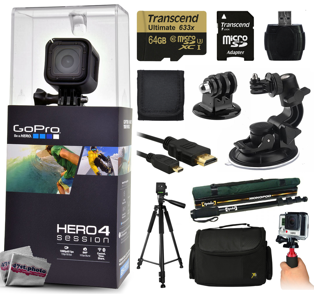 """GoPro Hero 4 HERO4 Session CHDHS-101 with 64GB Ultra Memory with MicroSD Reader + Suction Cup Mount + 67"""" Monopod + 60? Pro Series Tripod + Large Padded Case + Handgrip Stabilizer + HDMI Cable + More GPH4SSNEW64GBK11"""