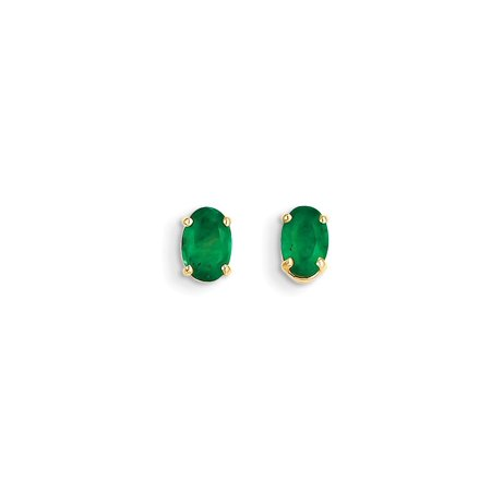 14k Yellow Gold Green Emerald Post Stud Earrings May Birthstone Prong Gemstone Gifts For Women For Her