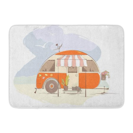 GODPOK Antenna Camper Summer Travel in House on Wheels Funny Orange Retro Trailer The Beach 70Th Camp Rug Doormat Bath Mat 23.6x15.7 inch ()