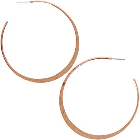 Big Hoop Earrings - Textured Open Round Statement Loops with Hypoallergenic Stainless Steel Post, Moon-Shaped, Flat Crescent 24K Rose, Pink Gold-Electroplated, by Humble Chic NY