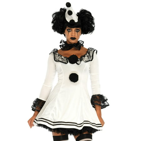Leg Avenue Womens 3 PC Pierrot Clown Halloween Costume (Clown Costume Womens)