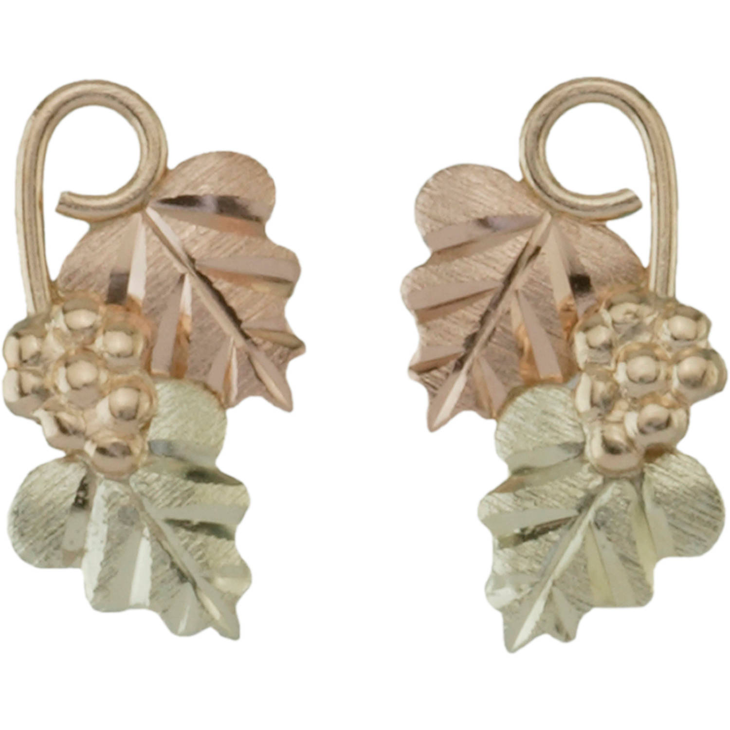 Black Hills Gold 10kt Yellow Gold with 12kt Gold Leaves Earrings