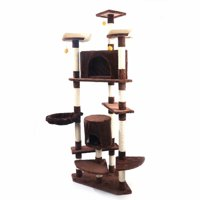"""Cat Tree Condo with Sisal Scratching Posts, Perches, Houses and Baskets, Cat Tower Furniture Kitty Activity Center Kitten Play House(80"""",Brown)"""