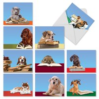 M3967 Reading Eye Dogs: 10 Assorted Blank Note Cards with Envelopes, The Best Card Company