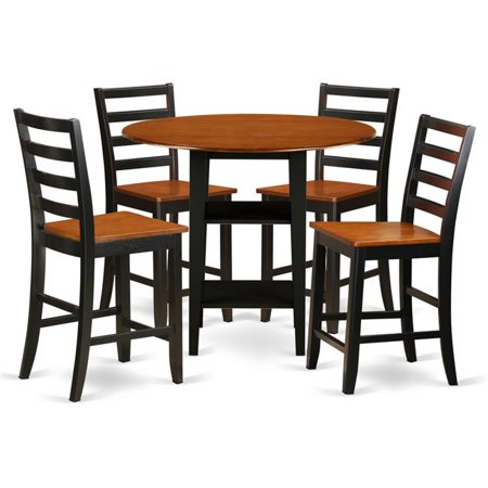 East West Furniture Sudbury 5 Piece Double Drop Leaf Dining Table Set With Ladder Back Chairs Black Cherry