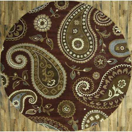 (Rugsource Oushak Agra Hand Knotted Oriental 10 ft Round Rug for Bedroom Brown (10' 1'' X 10' 1''))