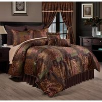 Chezmoi Collection Amelia 9-Piece Floral Jacquard Patchwork Comforter Set