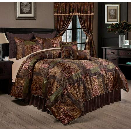 Chezmoi Collection Amelia 9-Piece Floral Jacquard Patchwork Comforter (Jacquard Floral Comforter)