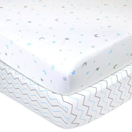 American Baby Co. Cotton Jersey Knit Fitted Portable/MiniCrib Sheet, Blue Stars/ZigZag 2pk