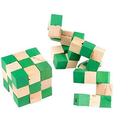 MAGIC PUZZLE CUBE-Attention Masterminds! Wooden Twisty Snake Brain Teaser 3D Puzzle Takes Guile, Wits, And Perseverance To Solve, Great Entertainment For Adults And Kids-2 Pack- 2