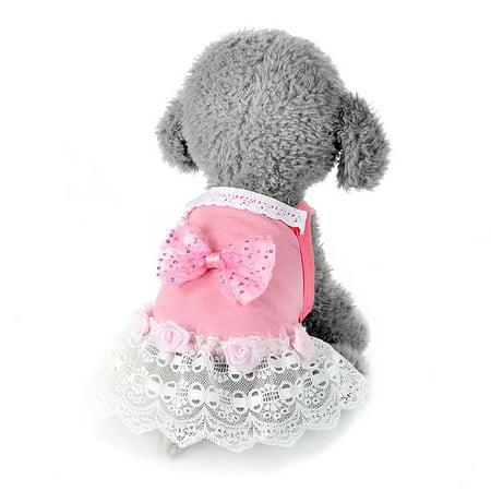 Dog Bow Tutu Dress Lace Skirt Pet Puppy Dog Princess Costume Apparel Clothes - Puppy Fancy Dress