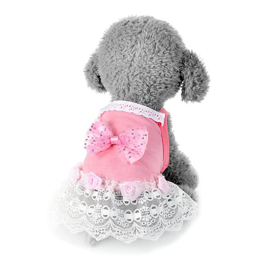 Dog Bow Tutu Dress Lace Skirt Pet Puppy Dog Princess Costume Apparel Clothes