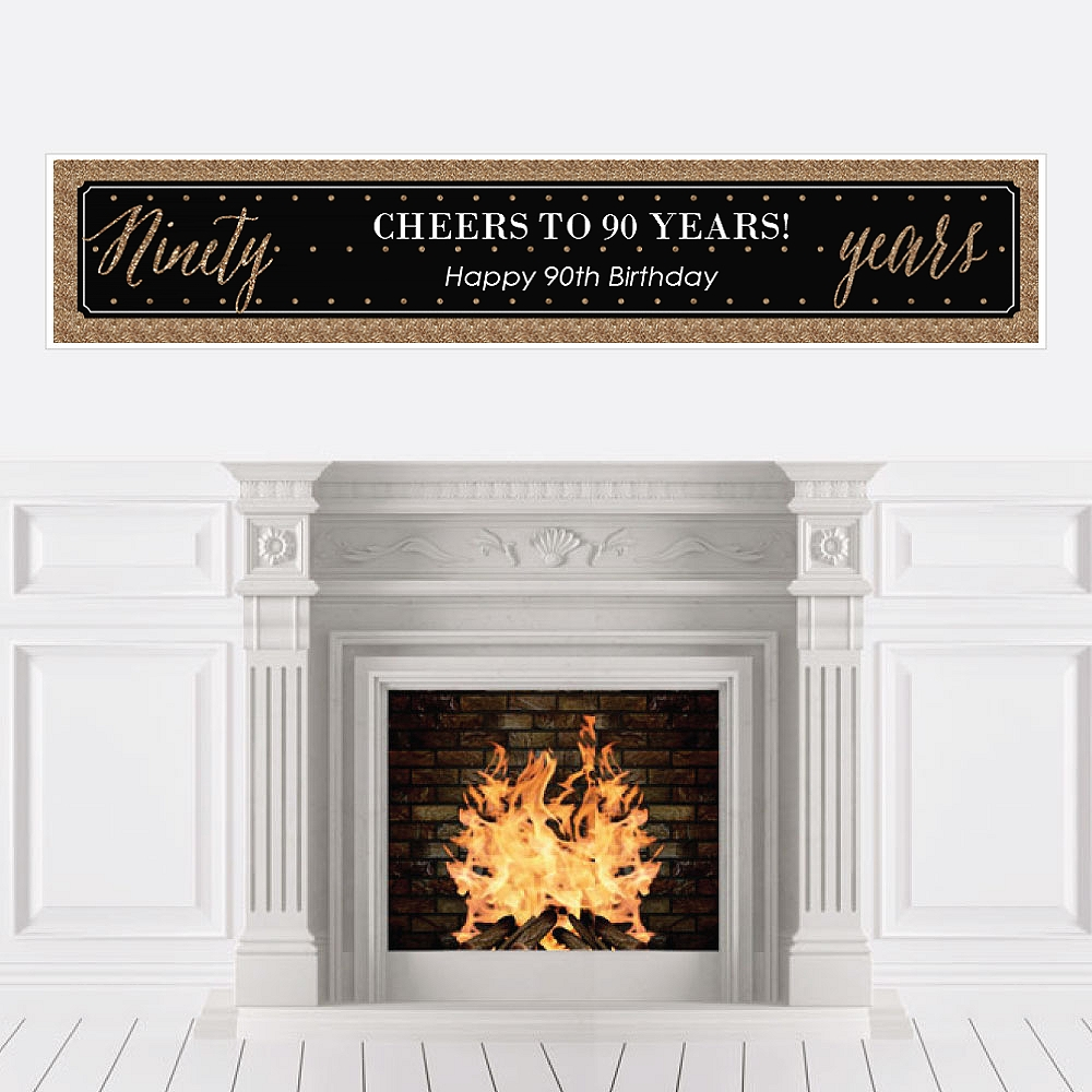 Chic 90th Birthday - Party Decorations Party Banner