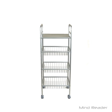 Purpose Utility Cart - Mind Reader Square 4 Tier Mobile All Purpose Utility Cart, Silver