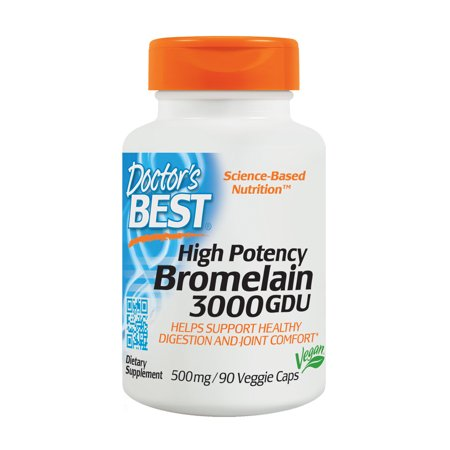 Doctor's Best High Potency Bromelain 3000 GDU, Non-GMO, Gluten Free, Joint Support, 90 Veggie Caps