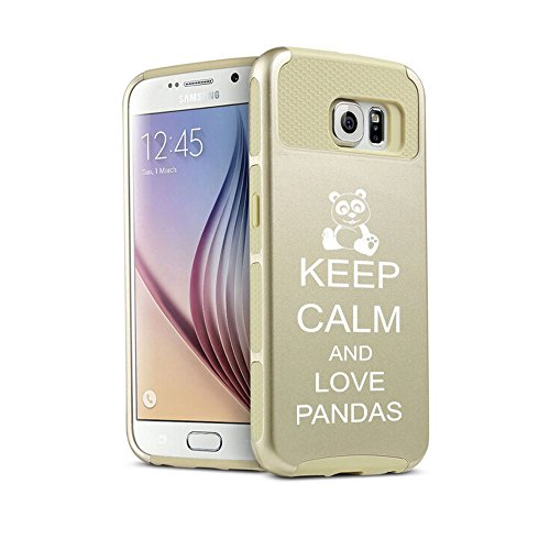 Samsung Galaxy S6 Edge+ Plus Shockproof Impact Hard Case Cover Keep Calm and Love Pandas (Gold),MIP