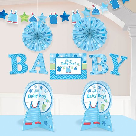 Shower With Love Baby Boy Room Decorating Kit (Each) - Baby Shower Party Supplies