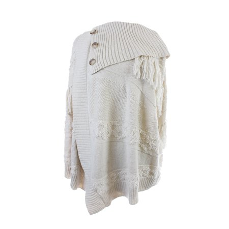 - Inc International Concepts  Cream Mixed-Knit Fringed Wrap Sweater L-XL
