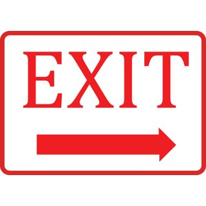 White Exit Right Arrow Sign - Business Directional Door Signs