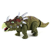 Dinosaur Century Triceratops Battery Operated Toy Dinosaur Figure w  Realistic Movement, Lights and Sounds by Velocity Toys