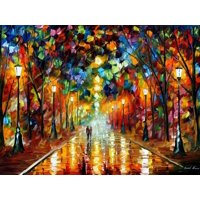 Farewell To Anger Couple on Colorful Romantic Walk Print Wall Art By Leonid Afremov