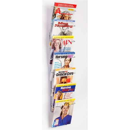 Set of 2 - 7-Pocket Wire Magazine Rack with Vertically-Stacked Pockets, Wall Mounted Literature Holder for 8.5x11 Catalogs - Chrome Finish (7T1RWMMAG)