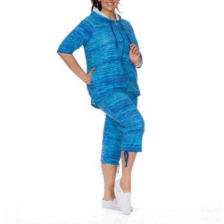Plus Moda Women's Plus-Size Tie Dye Summer Love high low 3/4 sleeeve zip front hoody