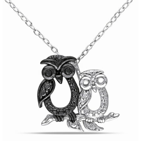 - Black Diamond Accent Two-Tone Sterling Silver Owl Pendant, 18