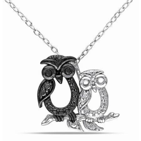 "Black Diamond Accent Two-Tone Sterling Silver Owl Pendant, 18"""