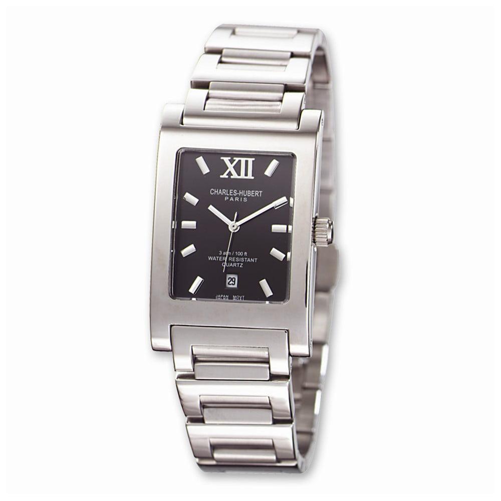 Mens Charles Hubert Stainless Steel Black Dial 27x34mm Watch