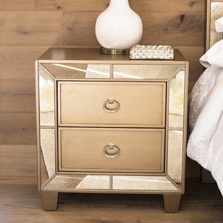 Abbyson Langston Mirrored 2 Drawer Nightstand