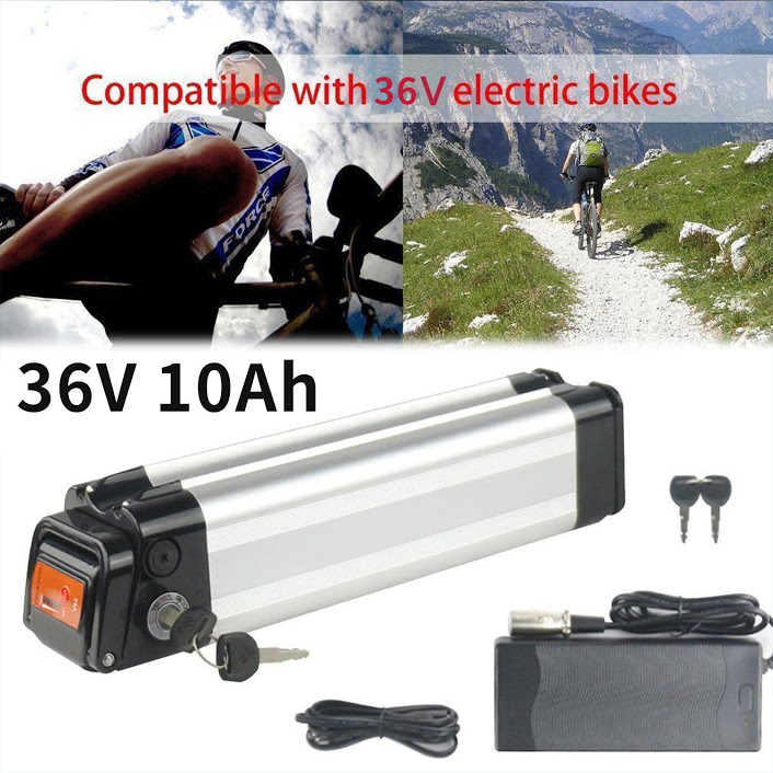 Upgrade 36V 10Ah Li-ion Battery with Power Supply and Safety Lock for Electronic Bicycles Lithium E-Bike Mountain Bikes - High Efficient Replacement Lithium Battery (Silver Fish)