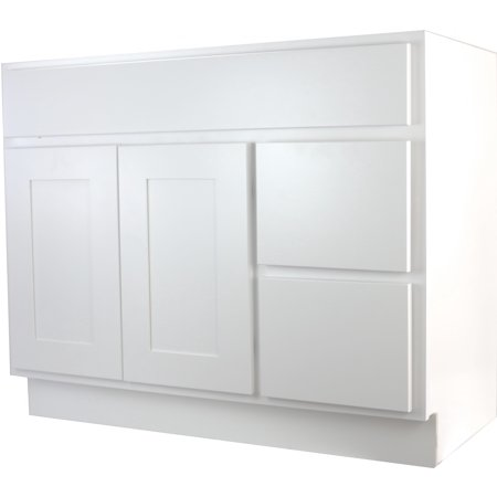 Cabinet Mania White Shaker 42 Inch Bathroom Vanity With Right Drawers Walma