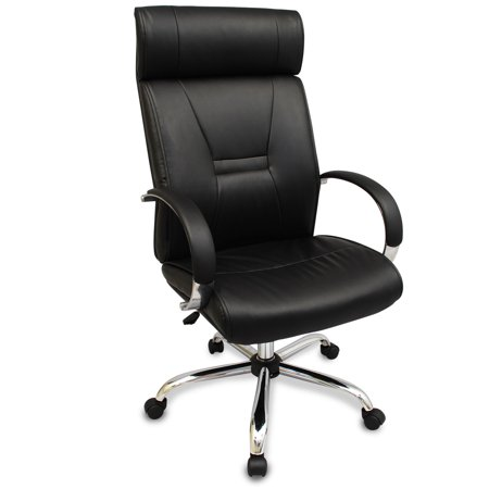 Bodymade Luxury Faux Leather Executive Office Chair With Curved Headrest Bla