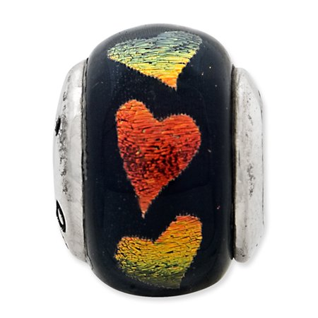 925 Sterling Silver Charm For Bracelet Orange/green Hearts Dichroic Glass Bead Glas Fine Jewelry Gifts For Women For Her - image 3 de 8