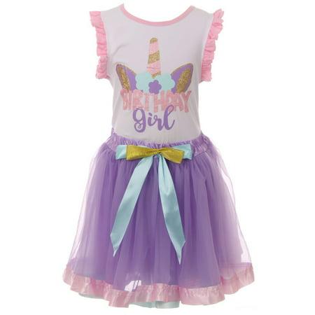 - Toddler Girls 2 Pieces Skirt Set Unicorn Birthday Tank Top Tutu Tulle Party Skirt Set White 2T XS (P501610P)