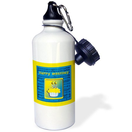 3Drose 30Th Birthday Cupcake On Music Notes  Blue And Yellow  Sports Water Bottle  21Oz