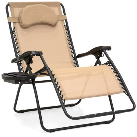 Best Choice Products Oversized Zero Gravity Outdoor Reclining Lounge Patio Chair w/ Cup Holder - Tan (Gravity Faceplate)