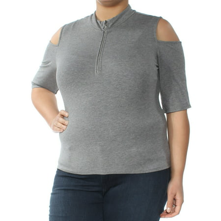 - GUESS Womens Gray Cold Shoulder Short Sleeve Zip Neck Top  Size: XL