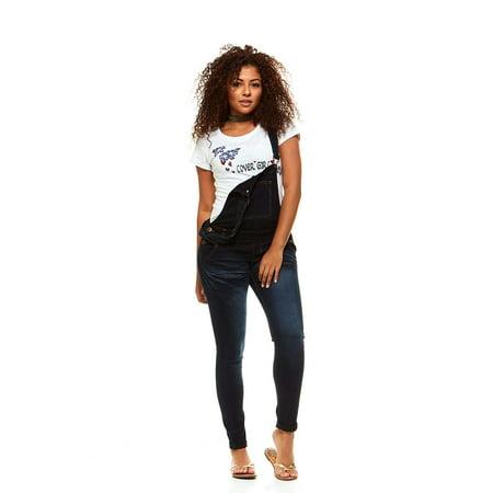Cover Girl Denim Overall Jeans for Women Bib Strap Skinny Fit Junior Size 15 Varsity Blue